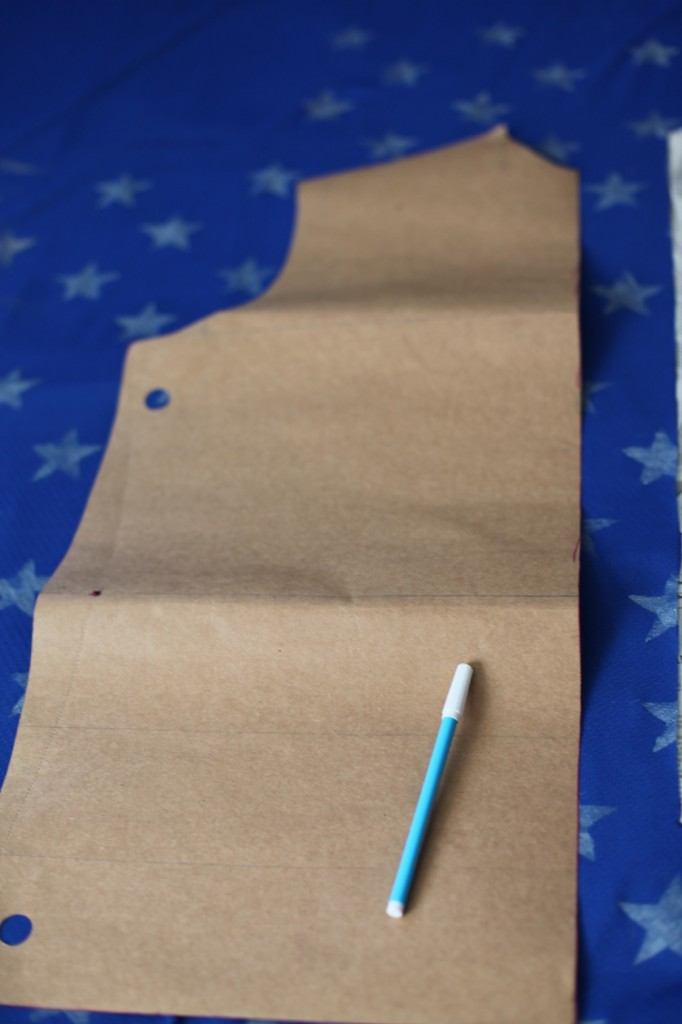 Cutting and Tracing body block for fourth of July pattern