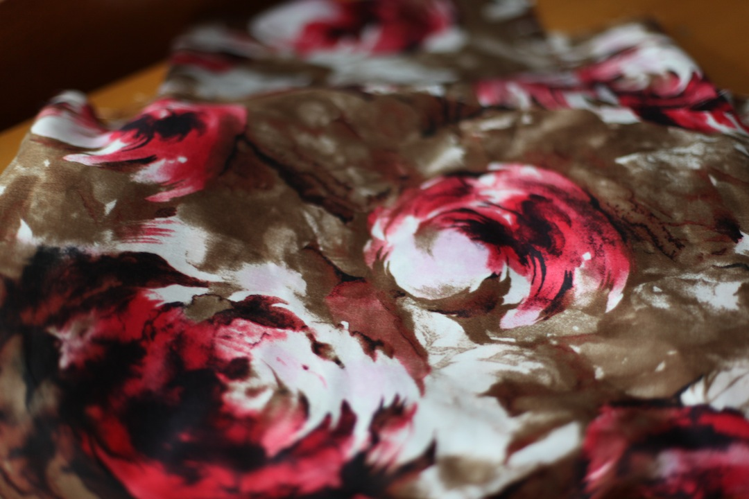 Beige and Red Rose Floral Fabric