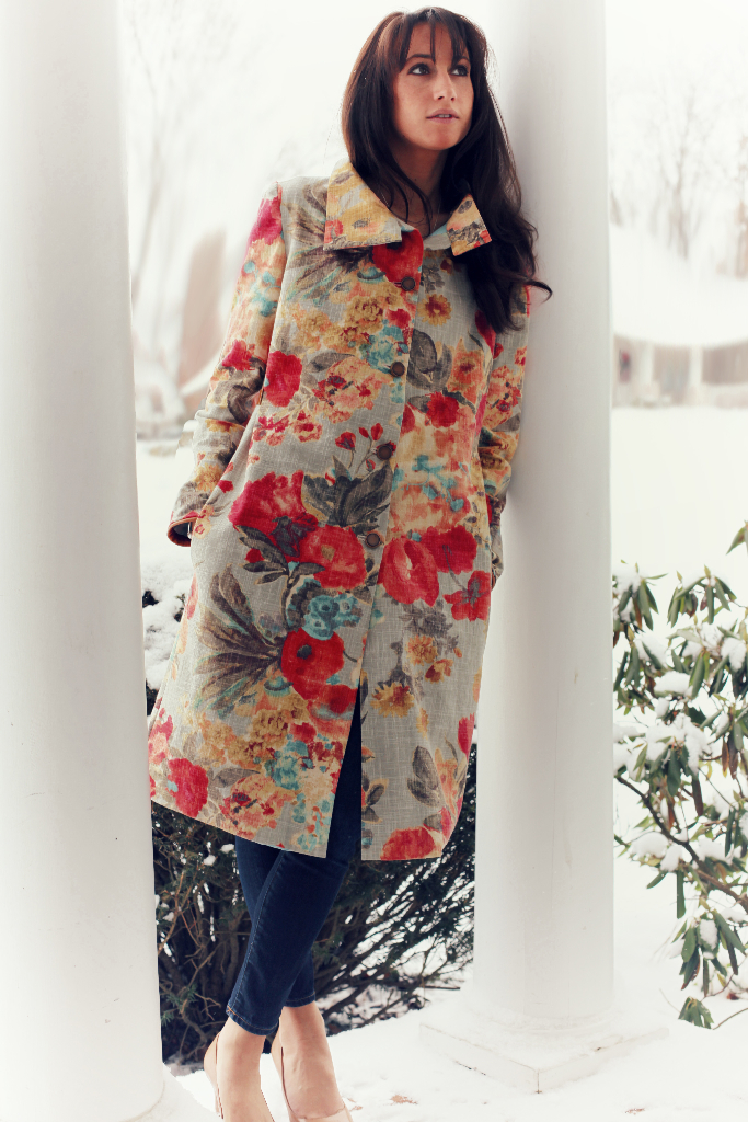 Colorful, Floral, Cotton, Jacket, trench coat, marusya, anagrassia, genuine leather cuffs