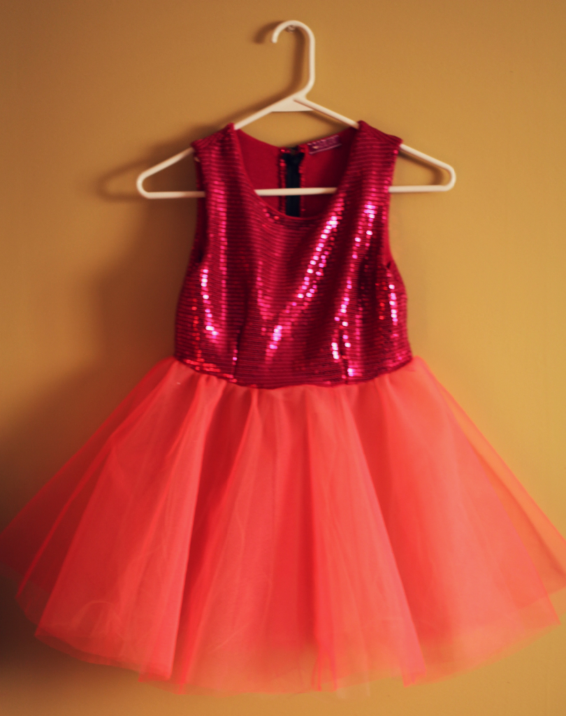 Pink Tulle Sequins Handmade Girls Dress Marusya