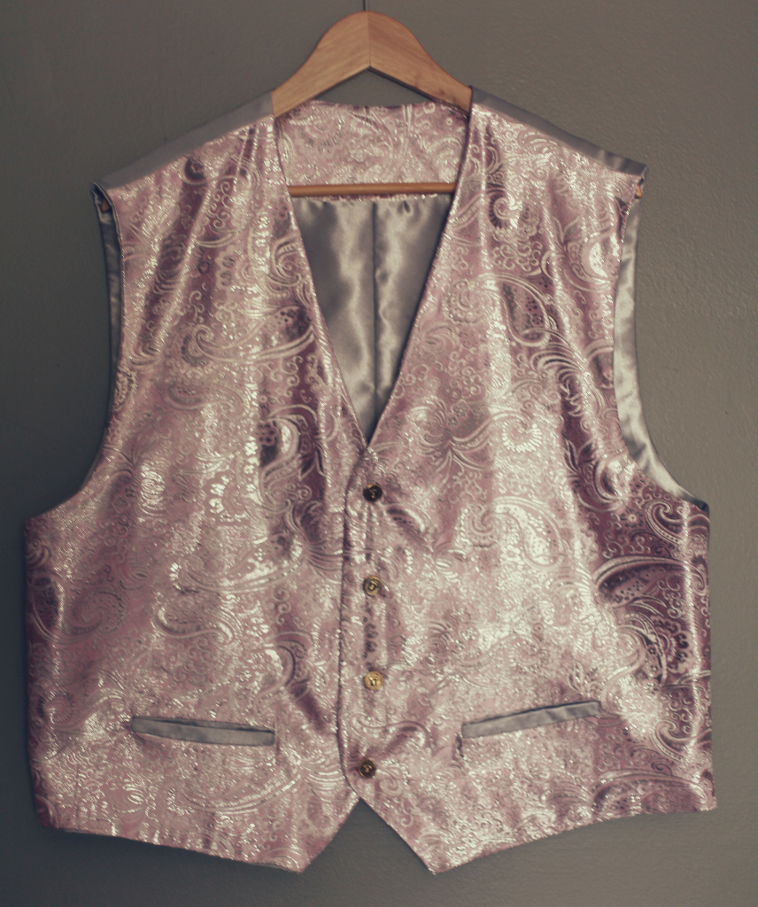 Pink Gray Mens formal Vest with Pockets for Wedding Graduation
