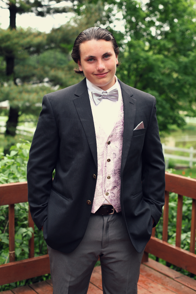 Pink Gray Men's formal Vest with Pockets for Wedding Graduation