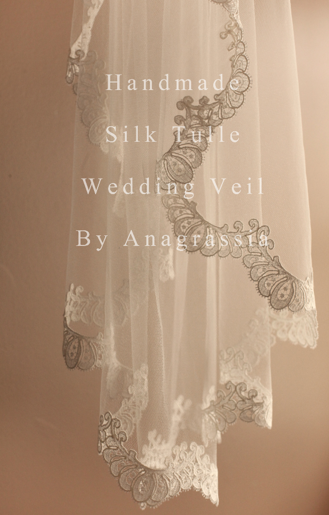 Handmade Firm Silk Tulle Anagrassia Wedding Veil Ivory and Lace Cathedral length blusher 1- teir