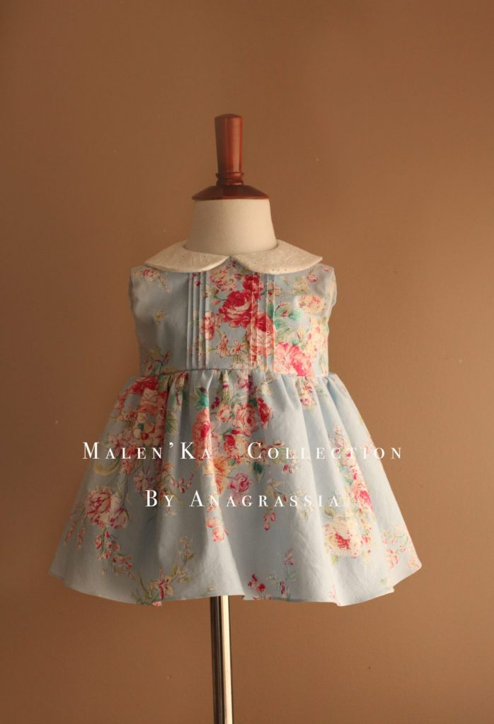 Blue Colorful Floral Pin Tuck Baby Summer Dress