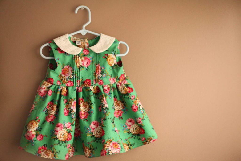Ukrainian floral green girls dress with pin tucks peter pan collar