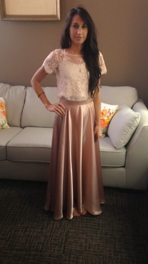 38c8c87ab38 Silk Maxi Skirt Bridesmaid Rose Lace Crop | Marusya Marusya